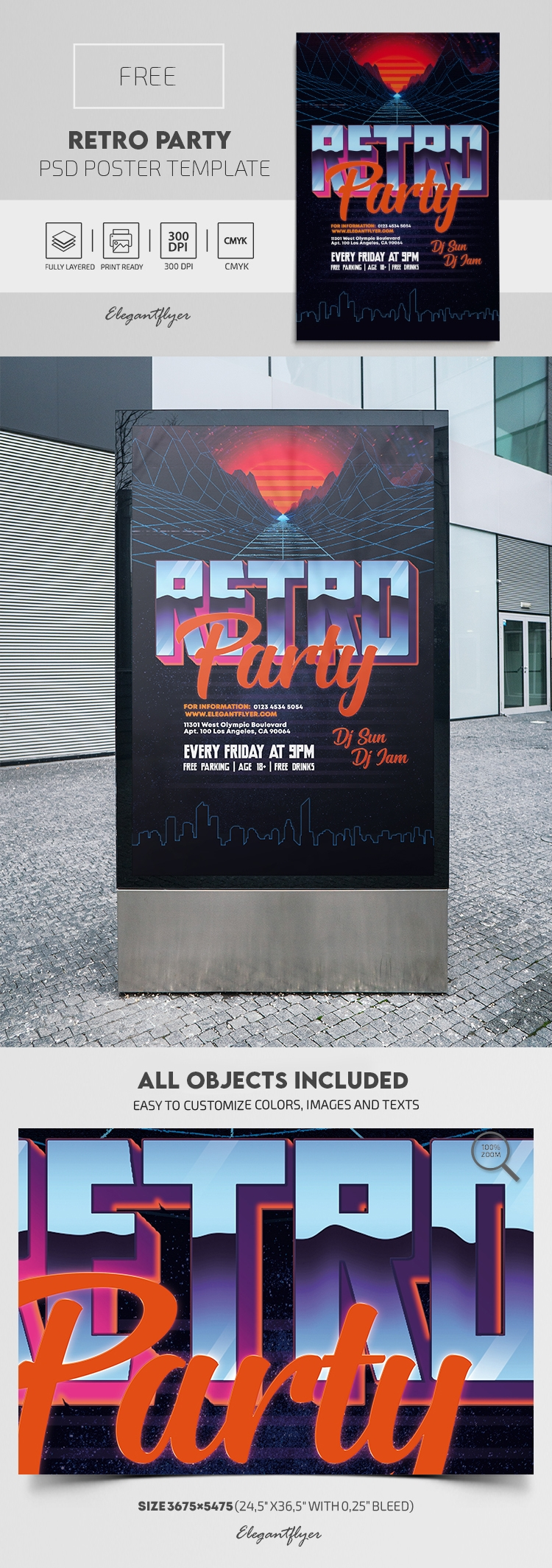 Retro Party – Free PSD Poster Template