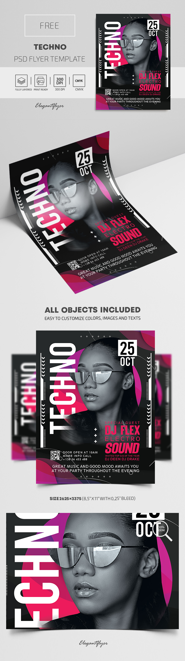 Techno – Free PSD Flyer Template