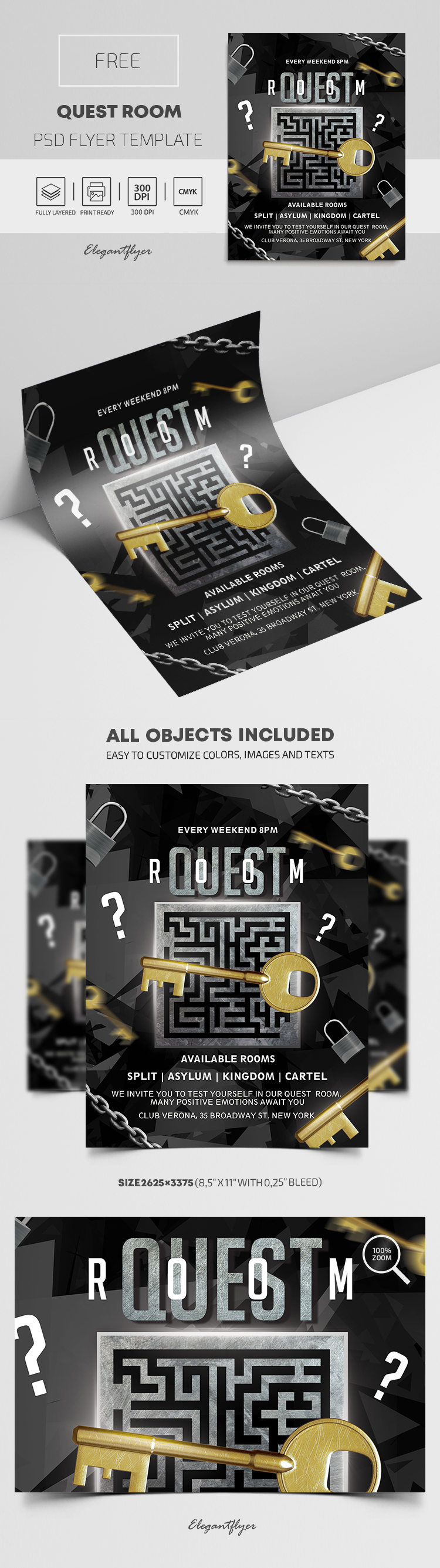 Quest Room – Free PSD Flyer Template