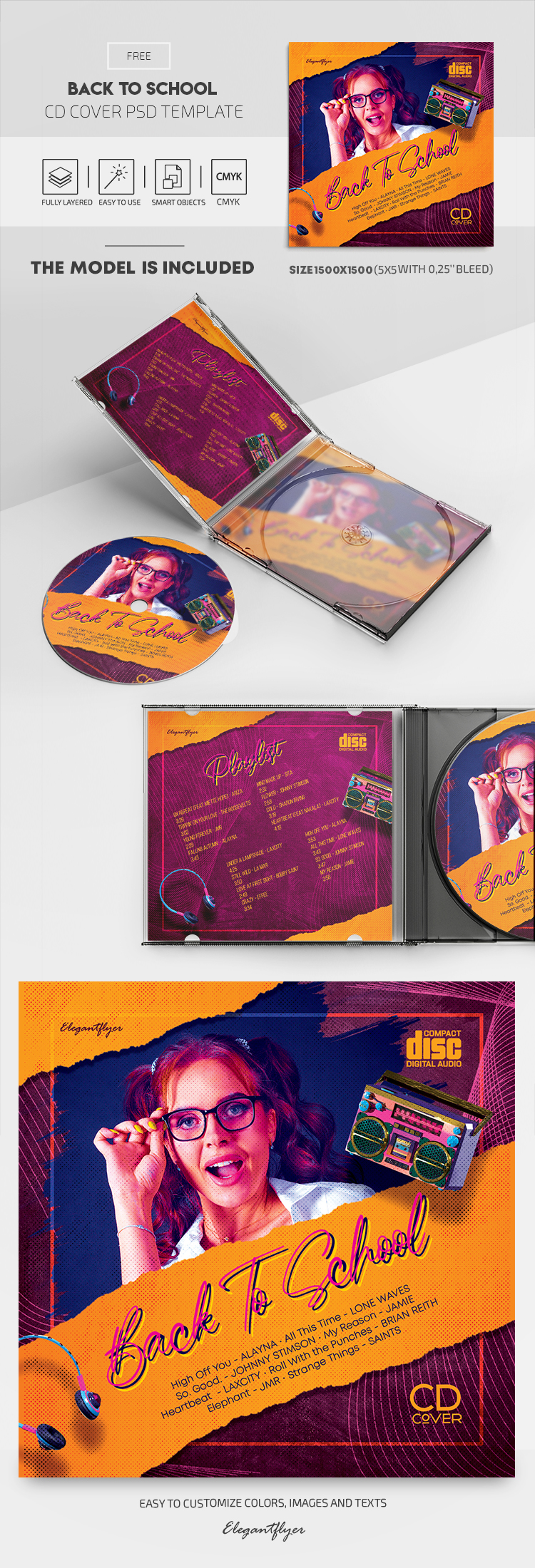 Back to School – Free CD Cover PSD Template