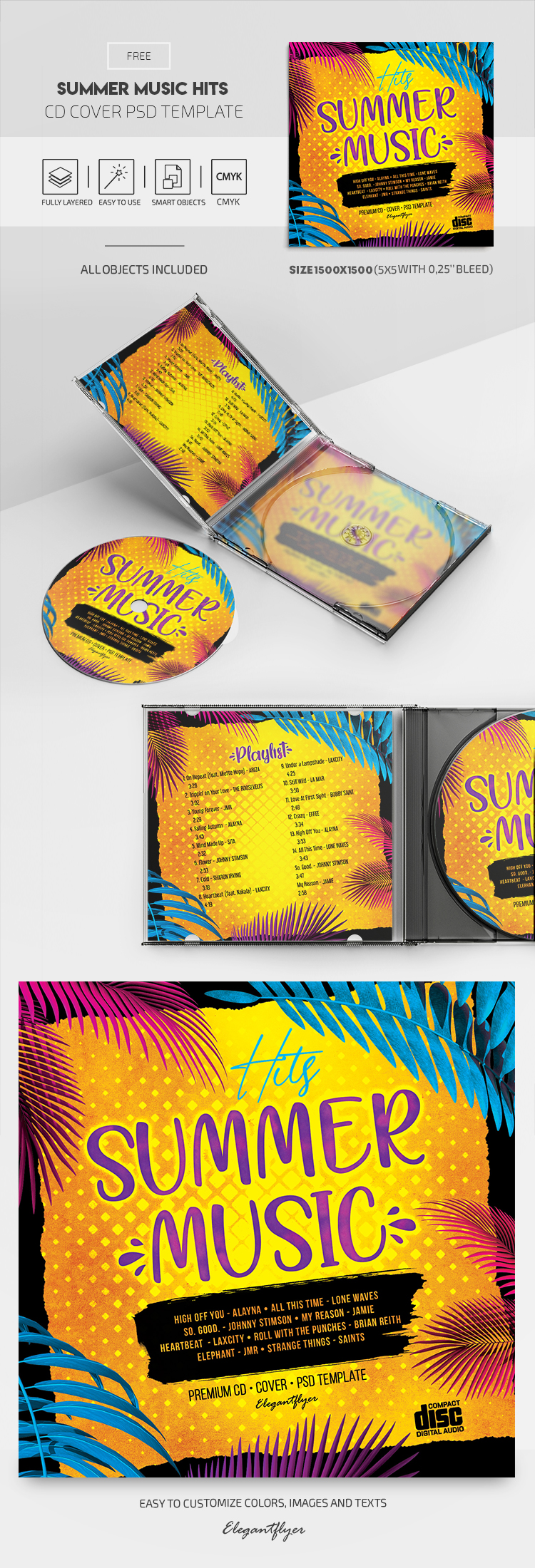 Summer Music Hits – Free CD Cover PSD Template