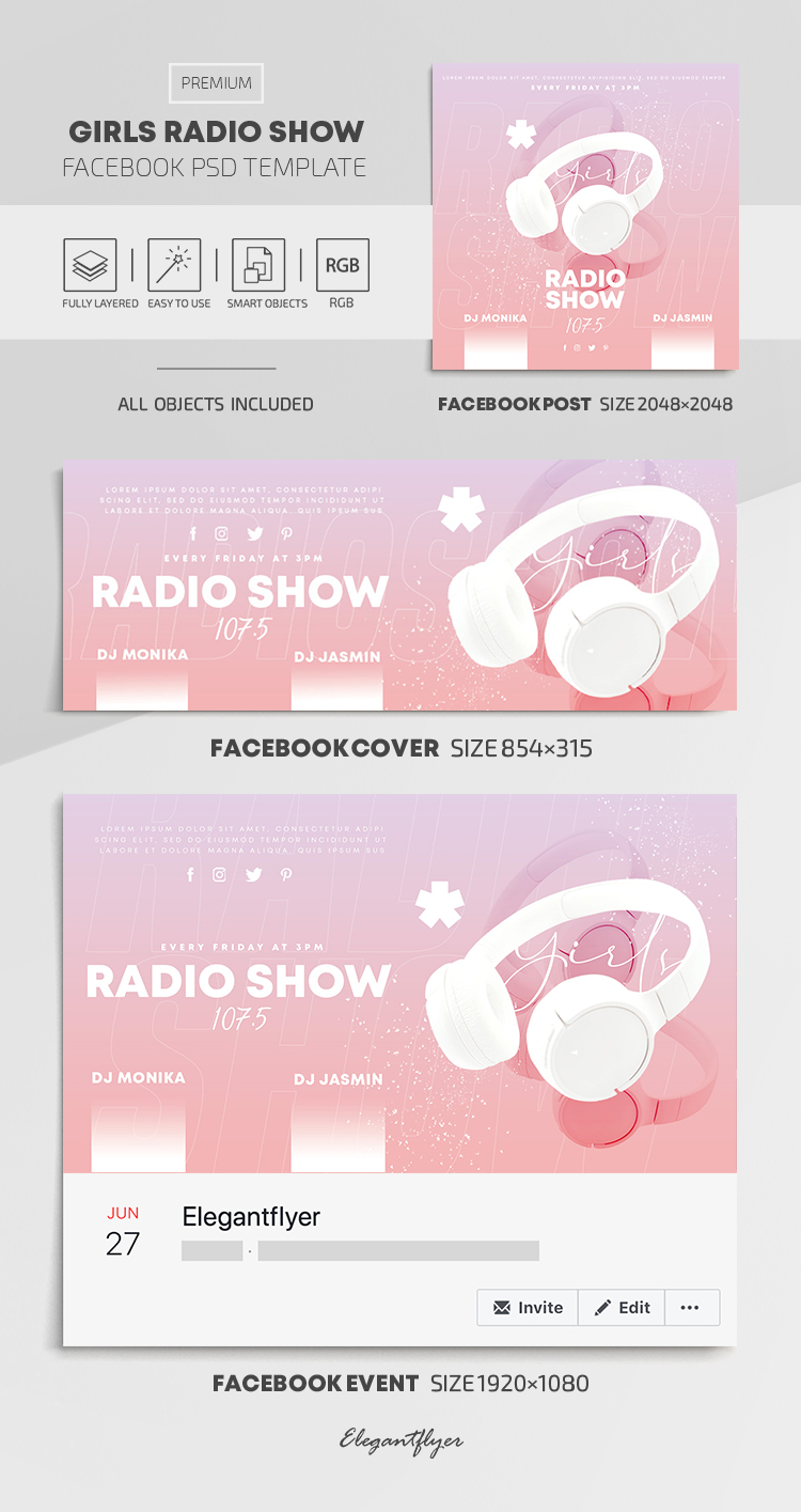 Girls Radio Show – Facebook Cover Template in PSD + Post + Event cover