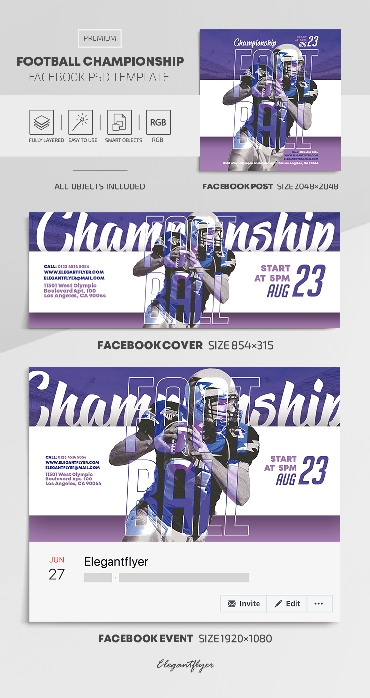 Football Championship – Facebook Cover Template in PSD + Post + Event cover