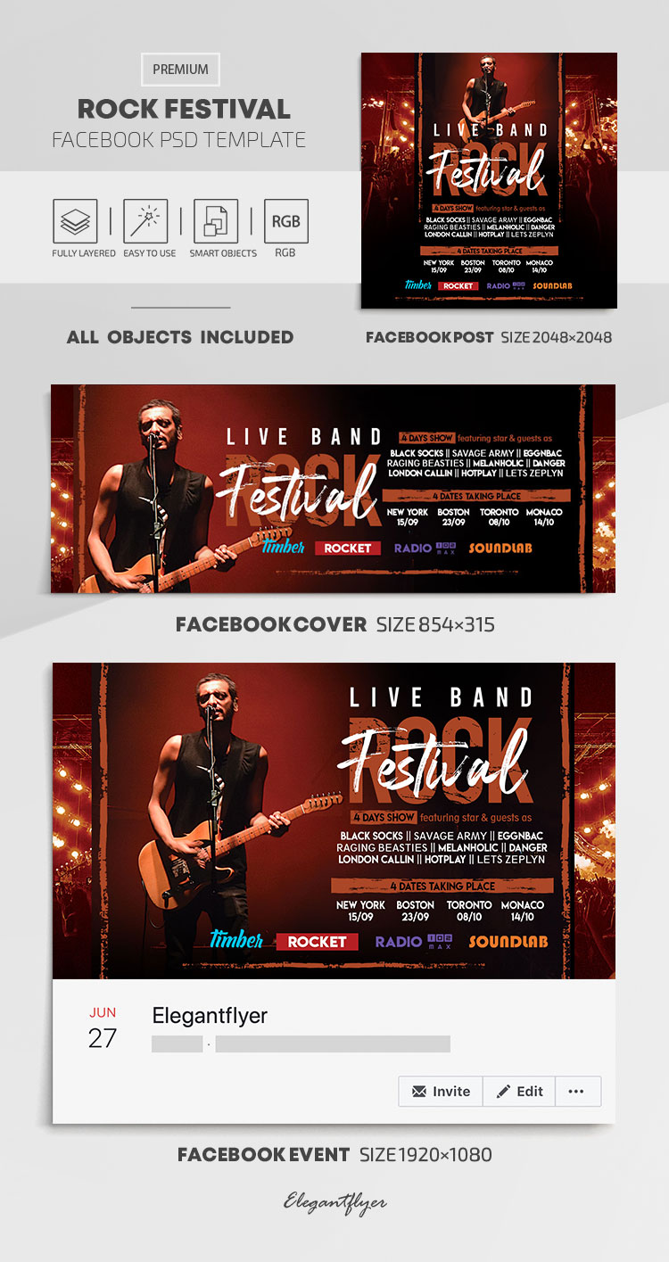 Rock Festival – Facebook Cover Template in PSD + Post + Event cover