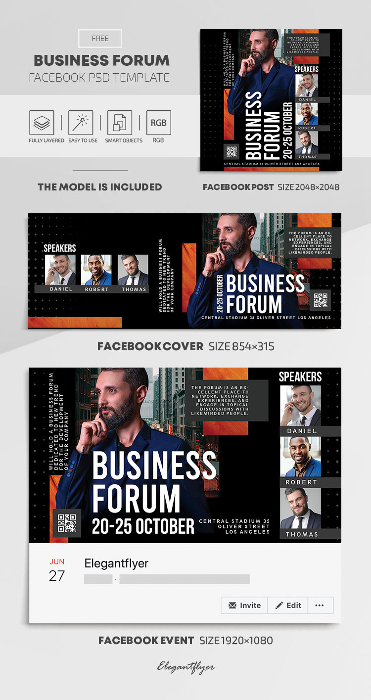 Business Forum – Free Facebook Cover Template in PSD + Post + Event cover