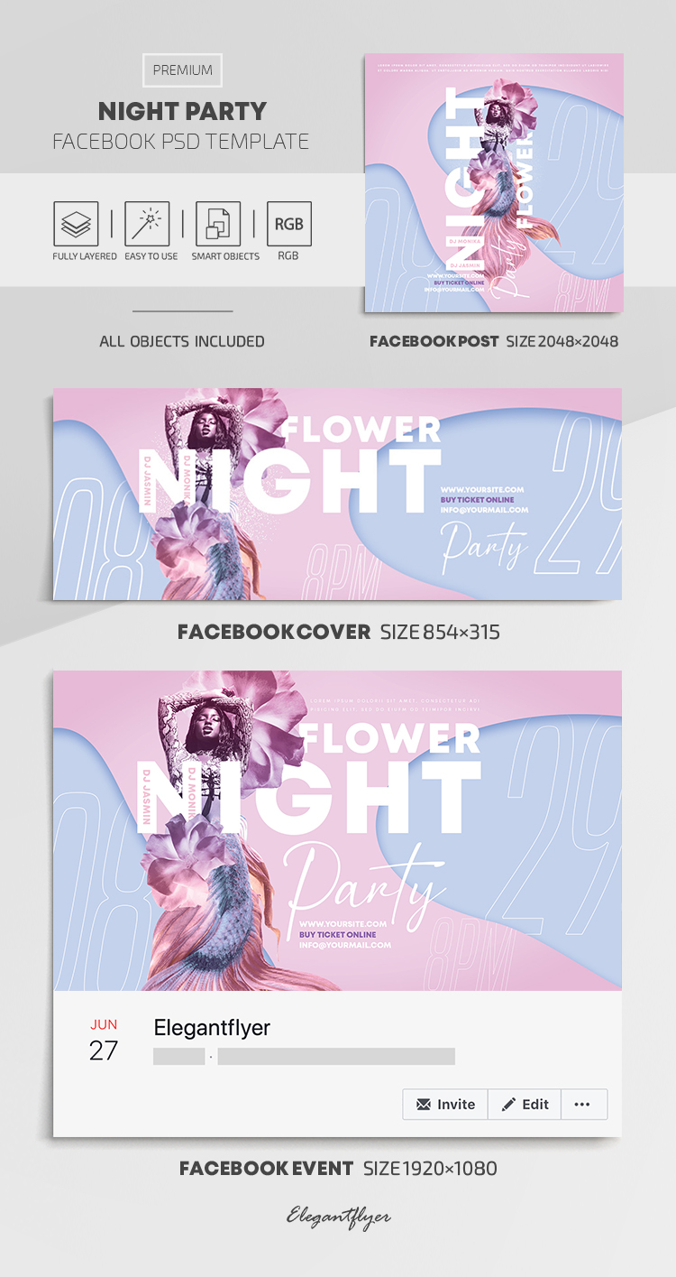 Night Party – Facebook Cover Template in PSD + Post + Event cover