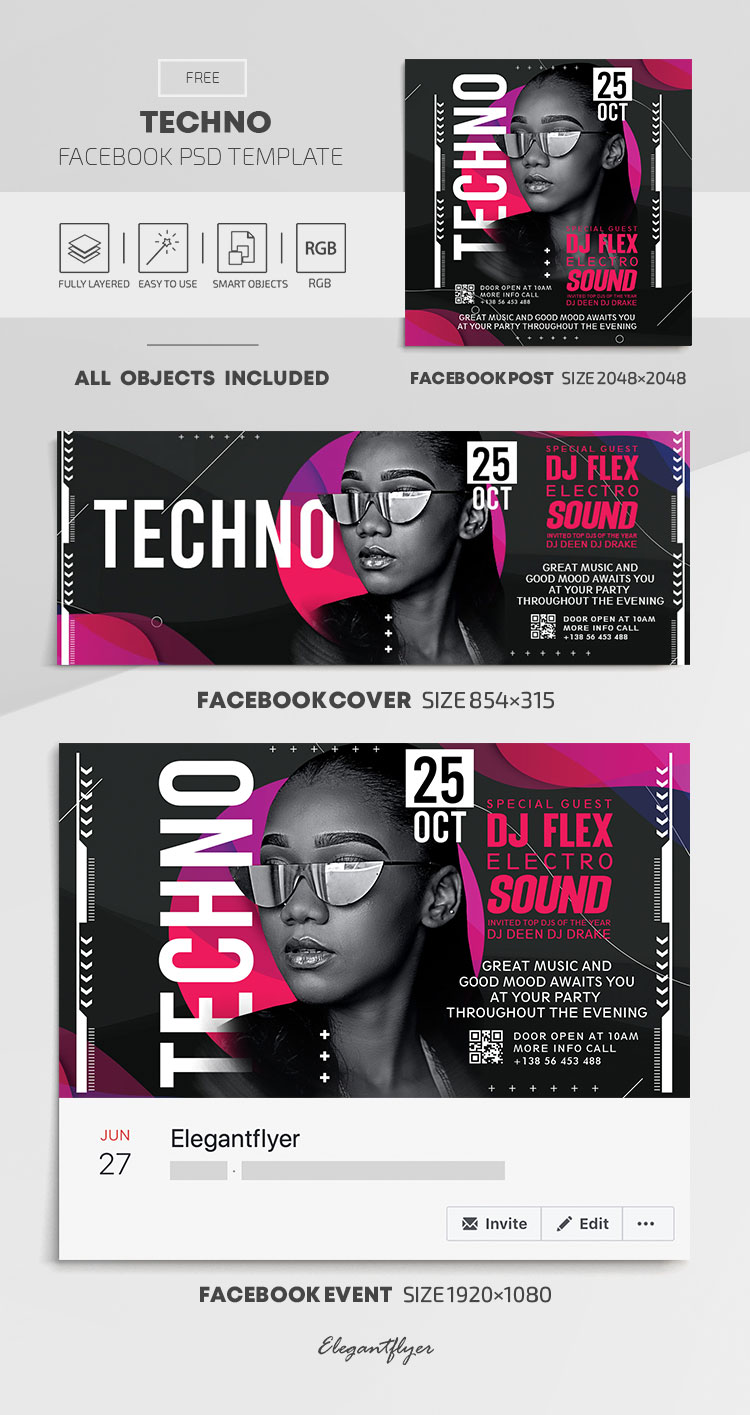 Techno – Free Facebook Cover Template in PSD + Post + Event cover