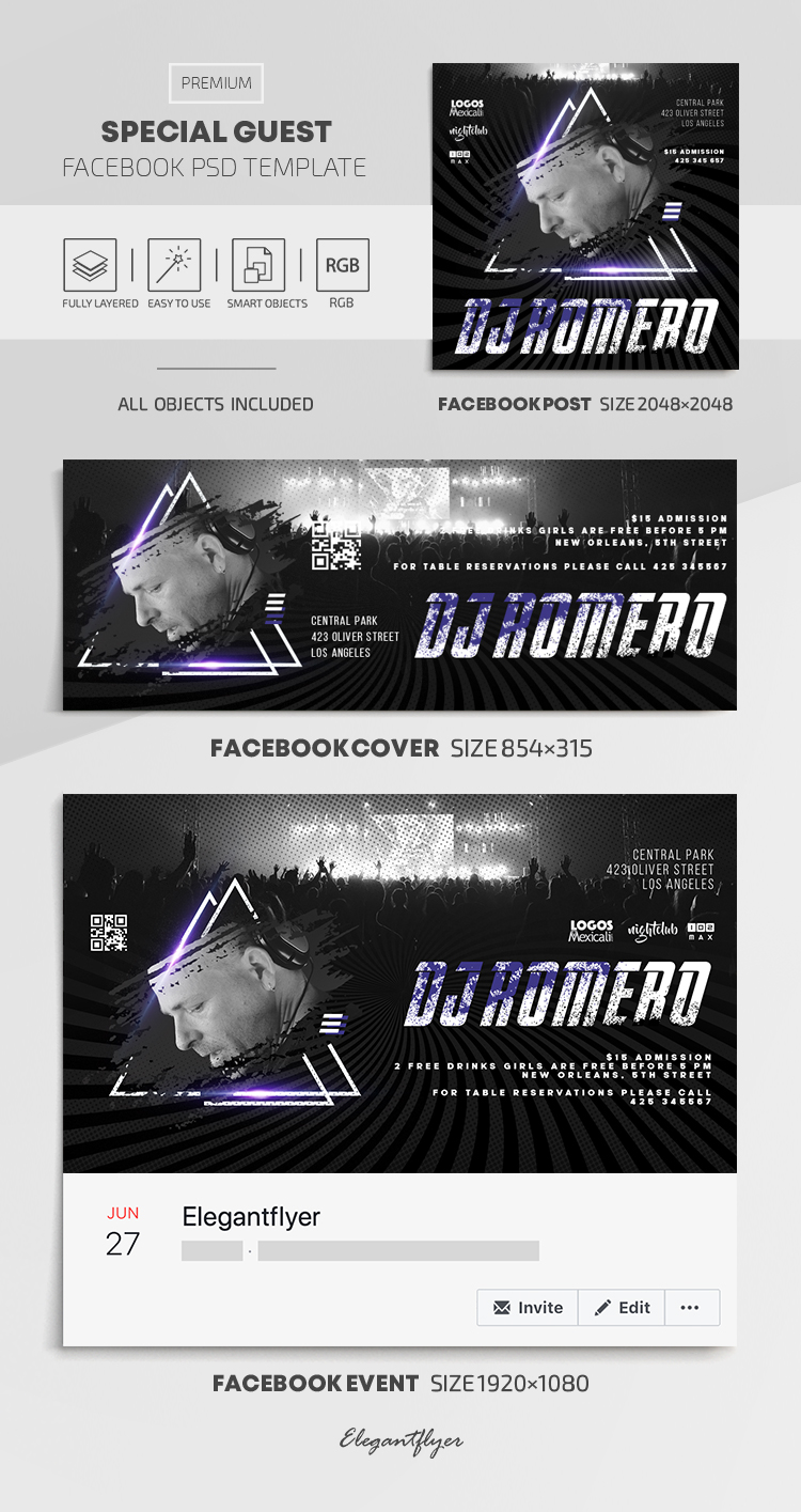 Special Guest – Facebook Cover Template in PSD + Post + Event cover