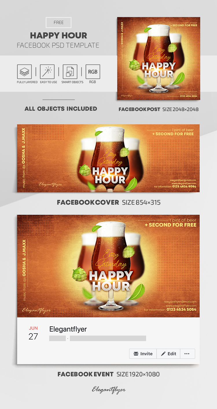 Happy Hour – Free Facebook Cover Template in PSD + Post + Event cover