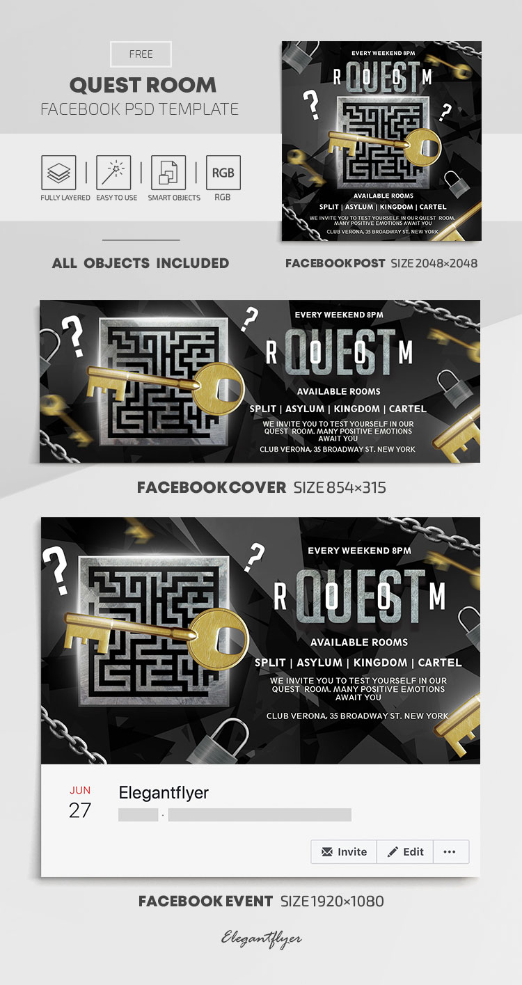Quest Room – Free Facebook Cover Template in PSD + Post + Event cover