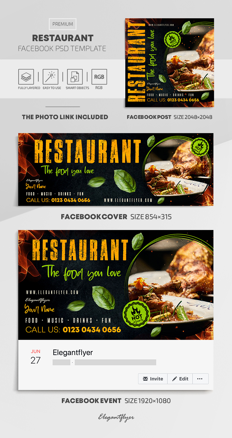 Restaurant – Facebook Cover Template in PSD + Post + Event cover