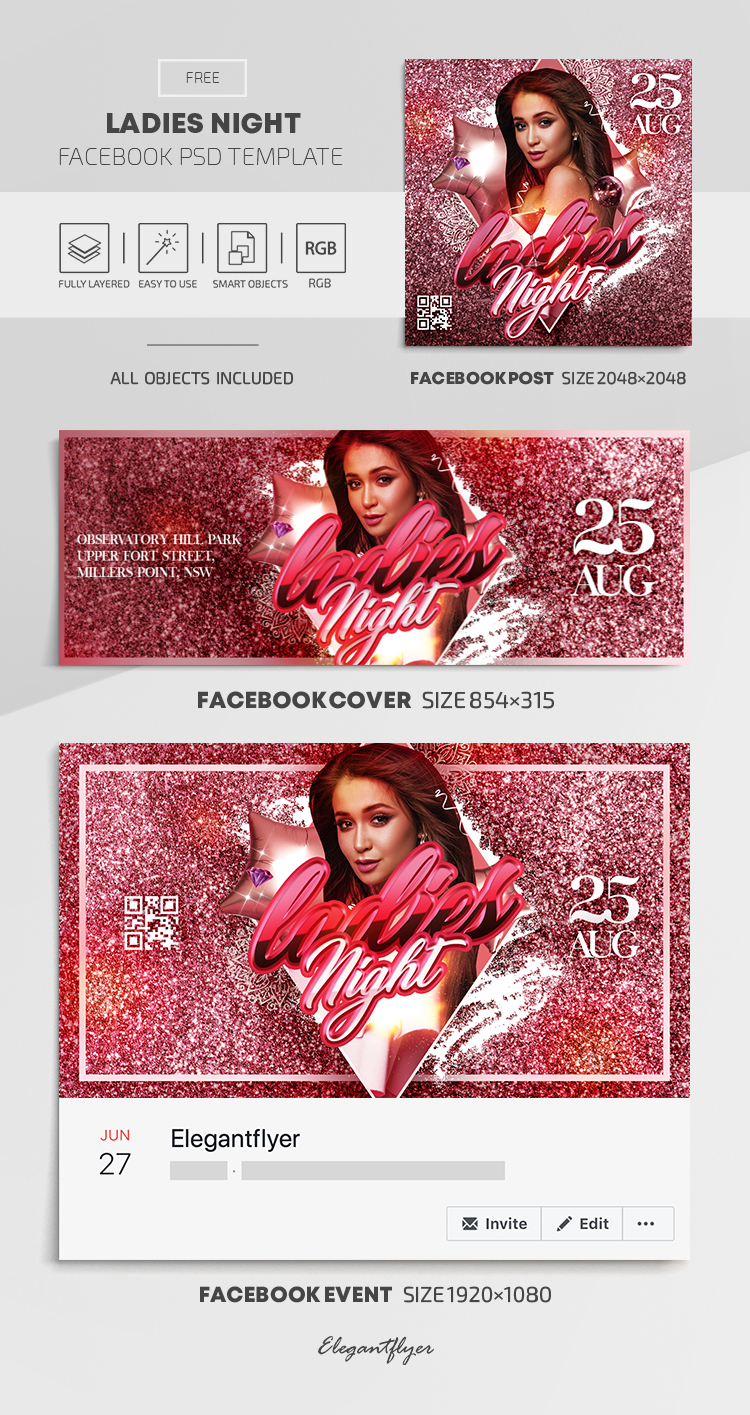 Ladies Night – Free Facebook Cover Template in PSD + Post + Event cover