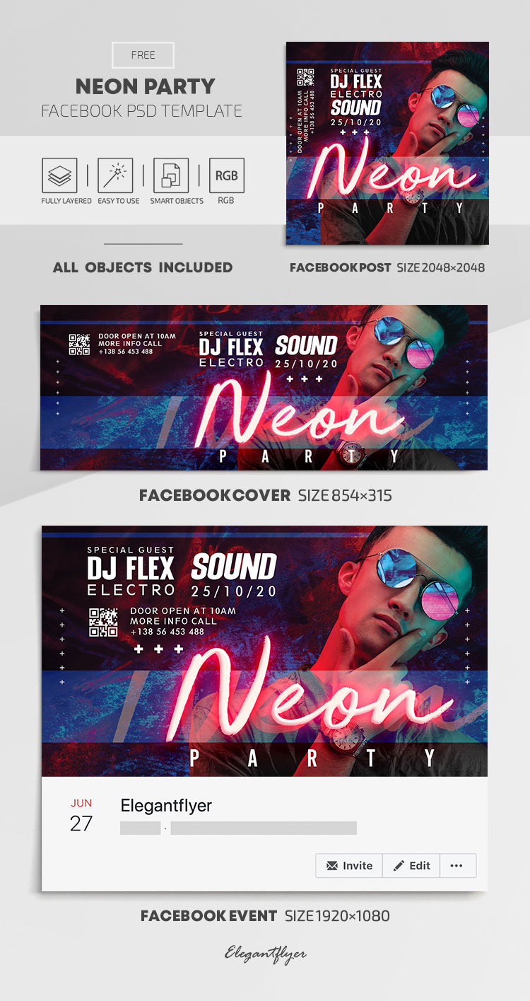 Neon Party – Free Facebook Cover Template in PSD + Post + Event cover