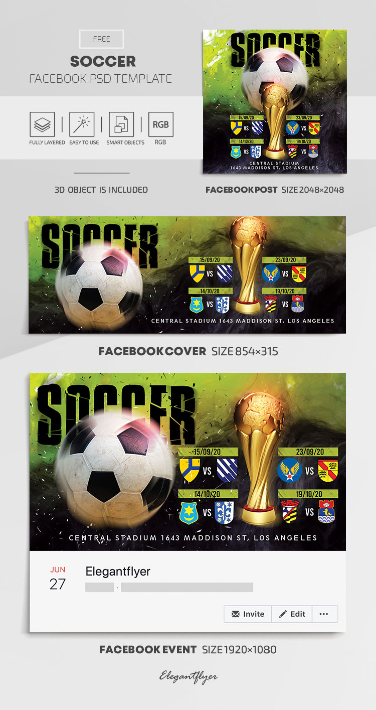 Soccer – Free Facebook Cover Template in PSD + Post + Event cover