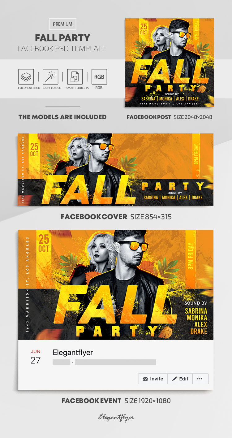 Fall Party – Facebook Cover Template in PSD + Post + Event cover