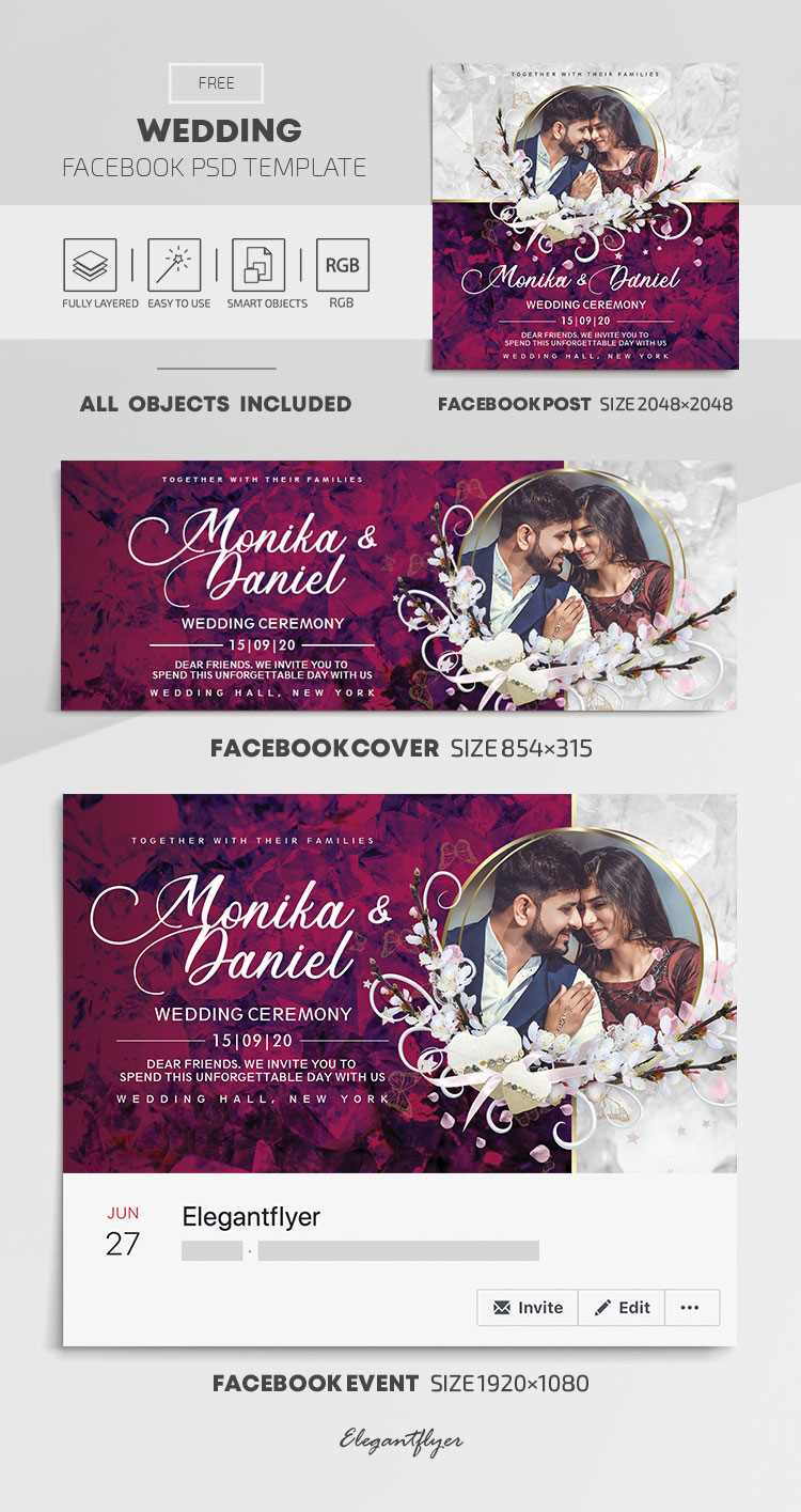 Wedding – Free Facebook Cover Template in PSD + Post + Event cover