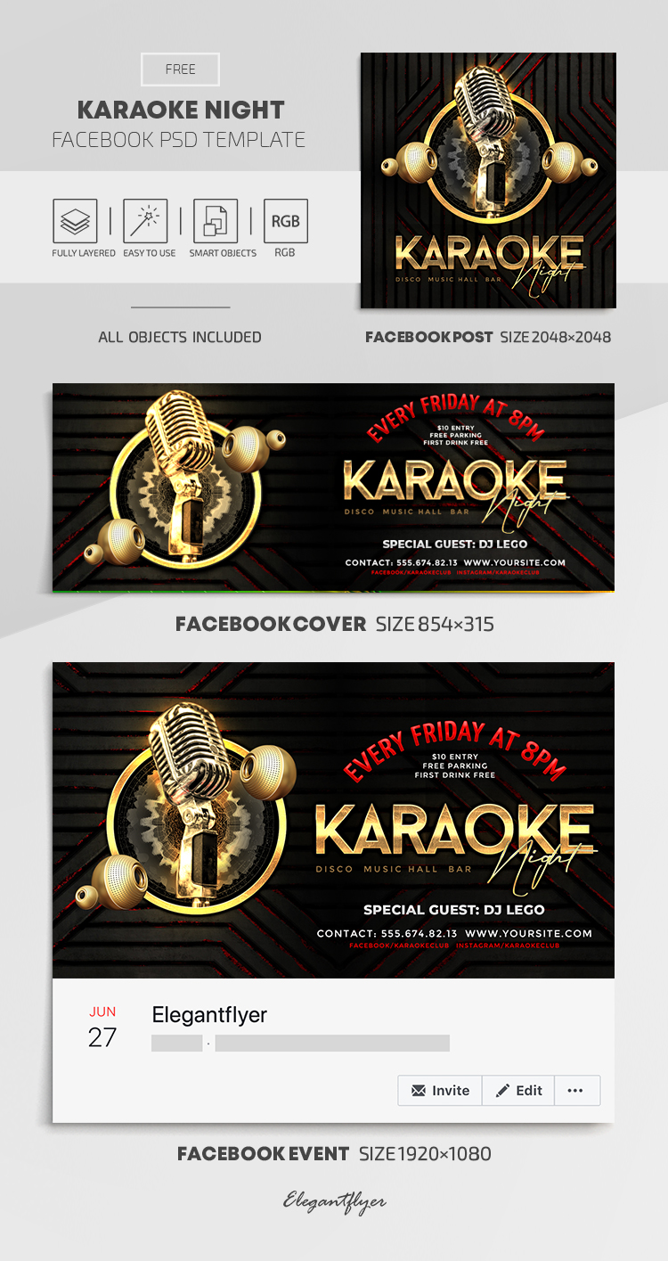 Karaoke Night – Free Facebook Cover Template in PSD + Post + Event cover