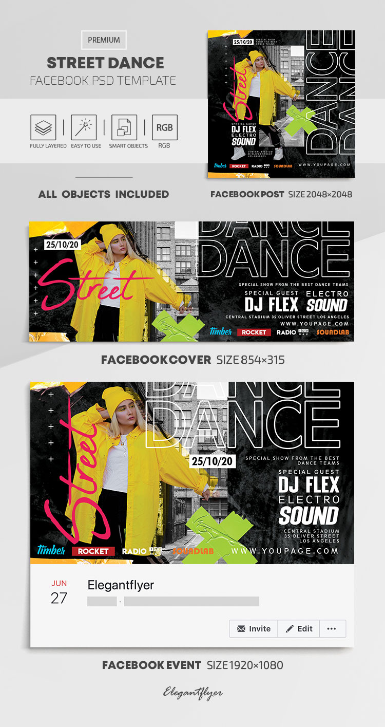 Street Dance – Facebook Cover Template in PSD + Post + Event cover