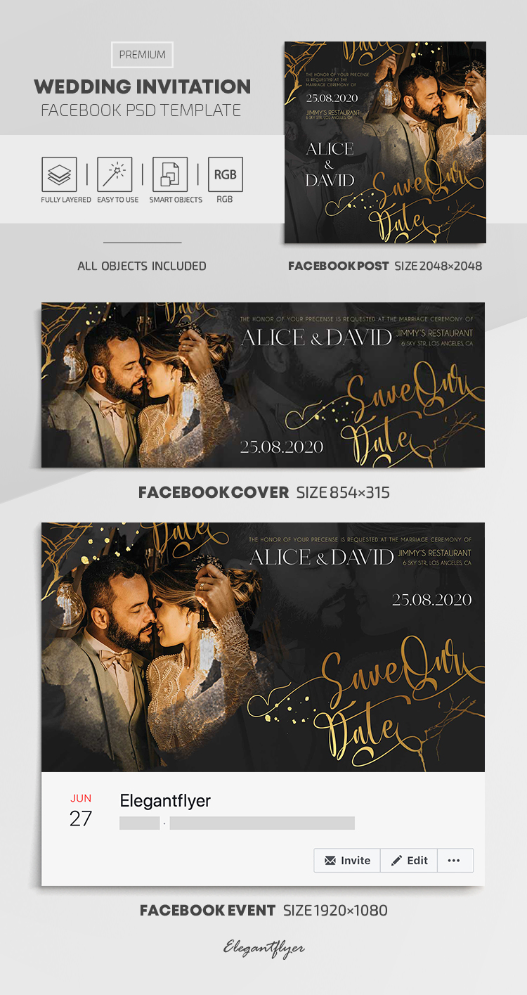 Wedding Invitation – Facebook Cover Template in PSD + Post + Event cover
