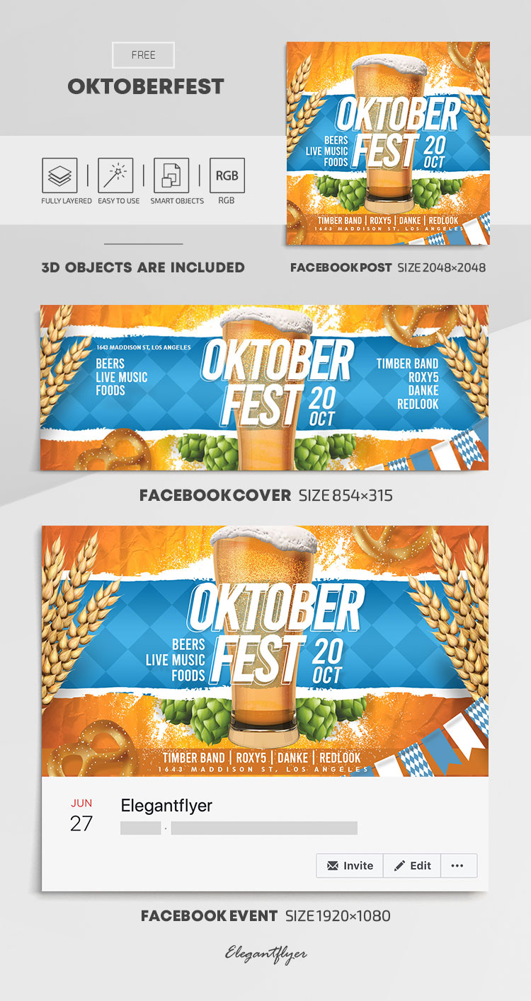 Oktoberfest – Free Facebook Cover Template in PSD + Post + Event cover