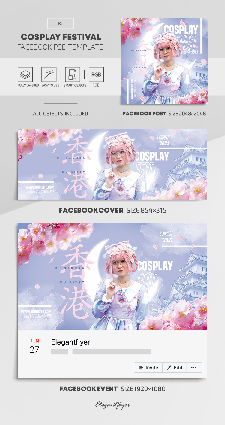 Cosplay Festival – Free Facebook Cover Template in PSD + Post + Event cover