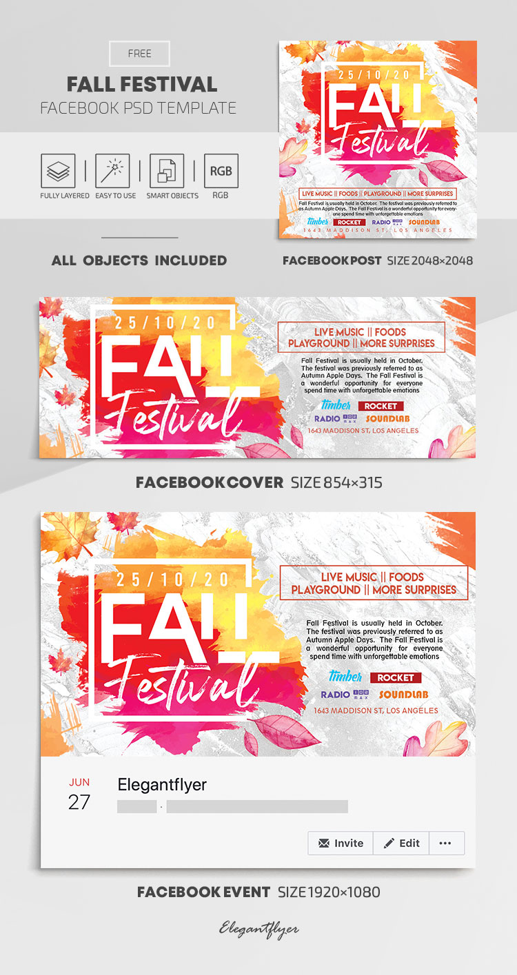 Fall Festival – Free Facebook Cover Template in PSD + Post + Event cover