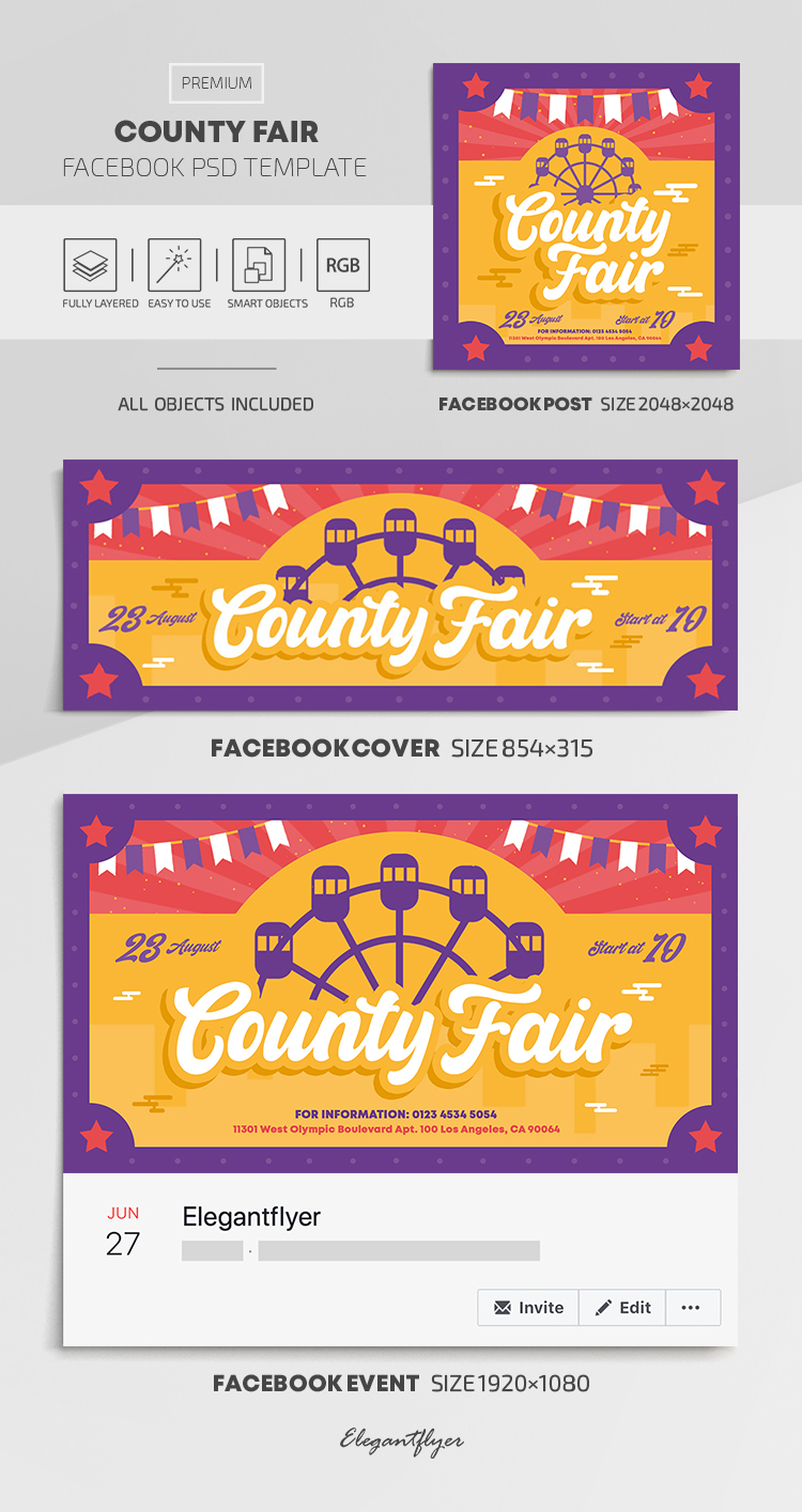 County Fair – Facebook Cover Template in PSD + Post + Event cover