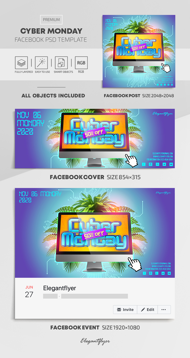 Cyber Monday – Facebook Cover Template in PSD + Post + Event cover