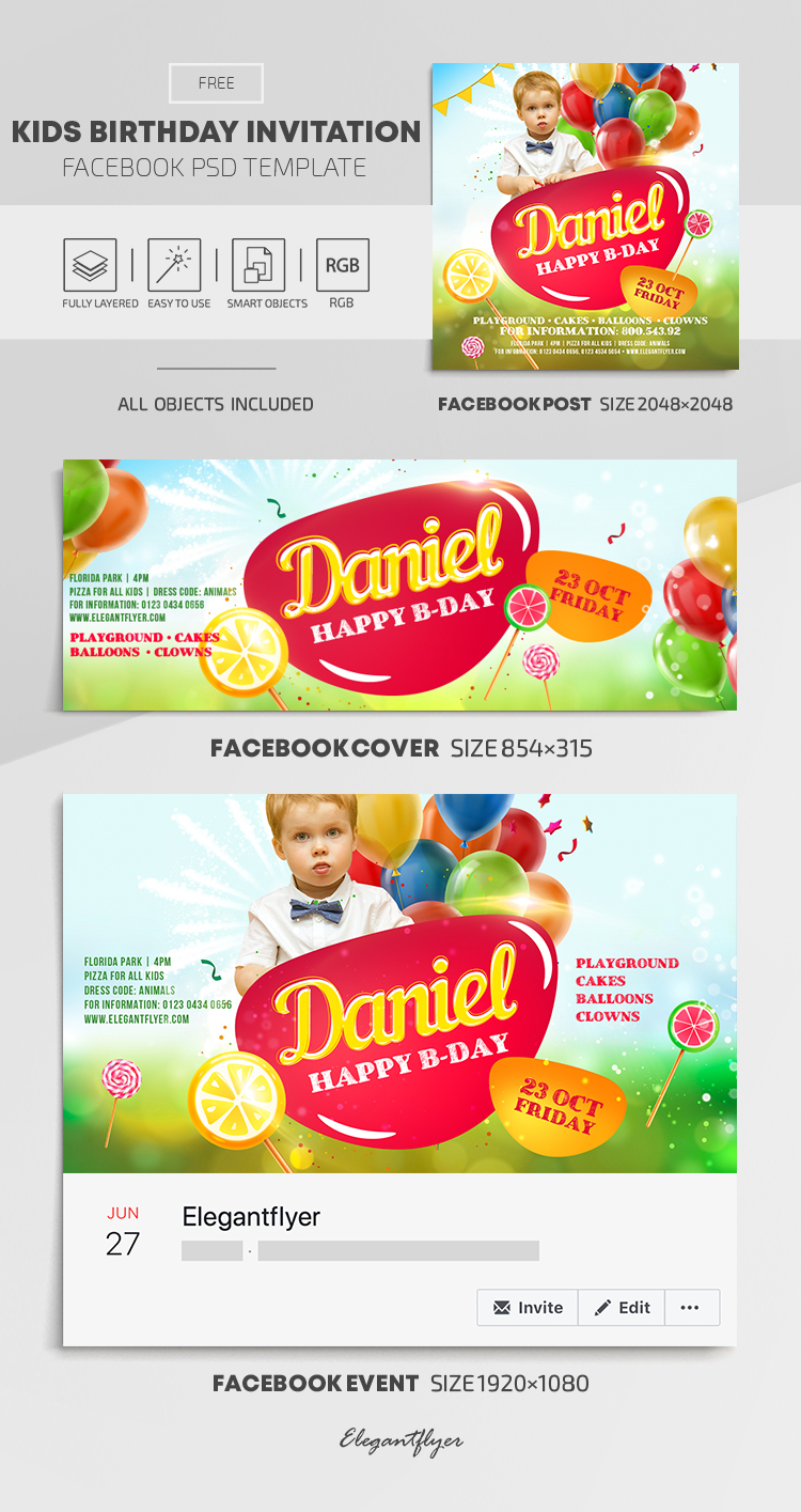 Kids Birthday Invitation – Free Facebook Cover Template in PSD + Post + Event cover