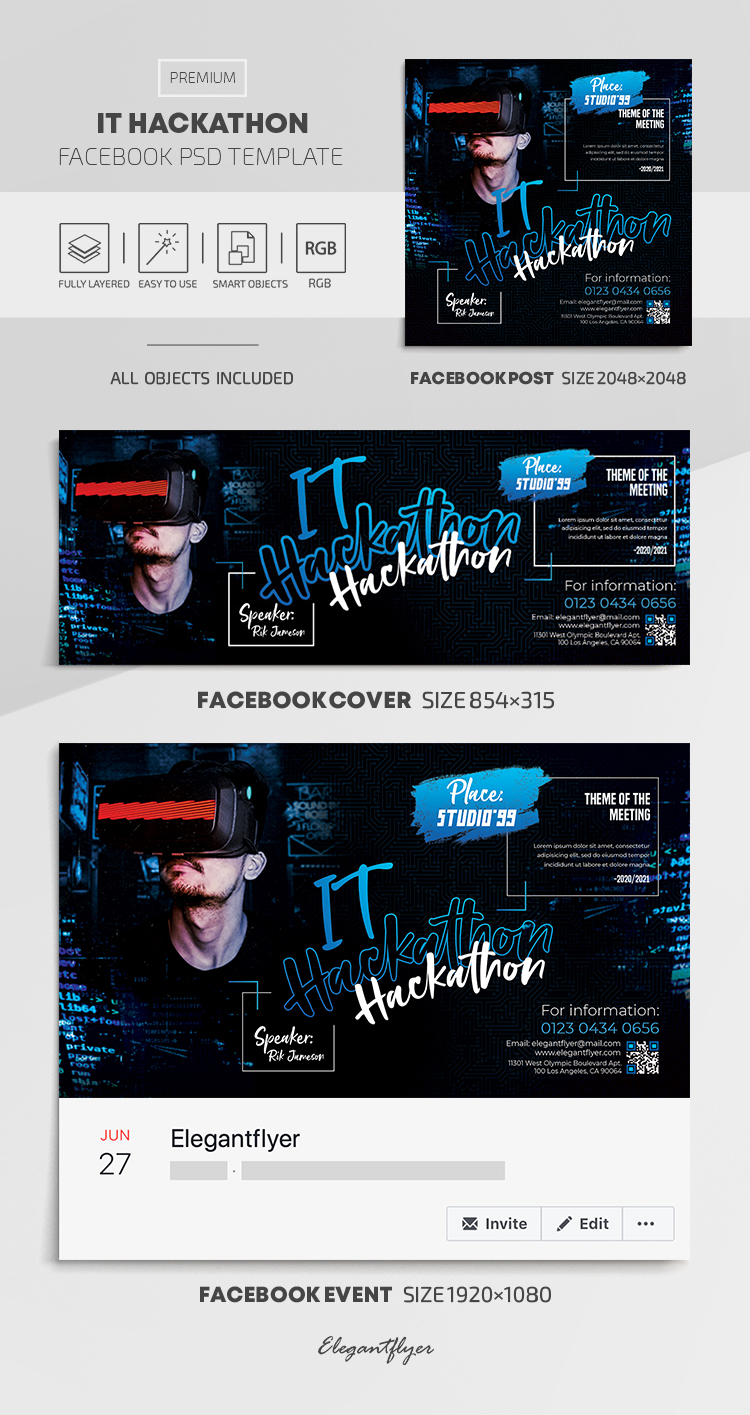IT Hackathon – Facebook Cover Template in PSD + Post + Event cover