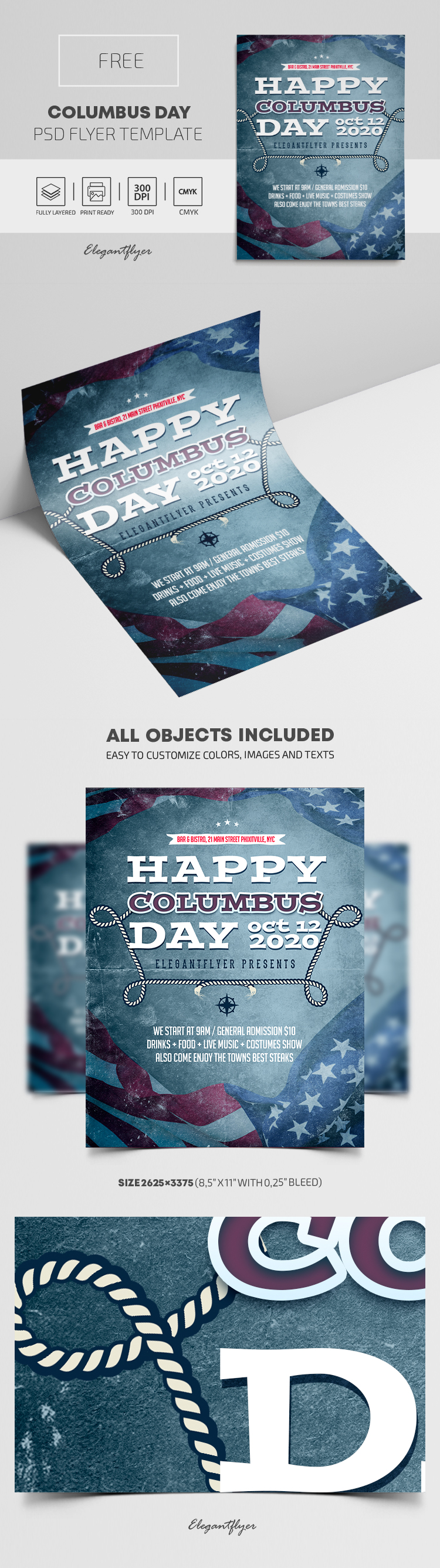 Columbus Day – Free Flyer PSD Template
