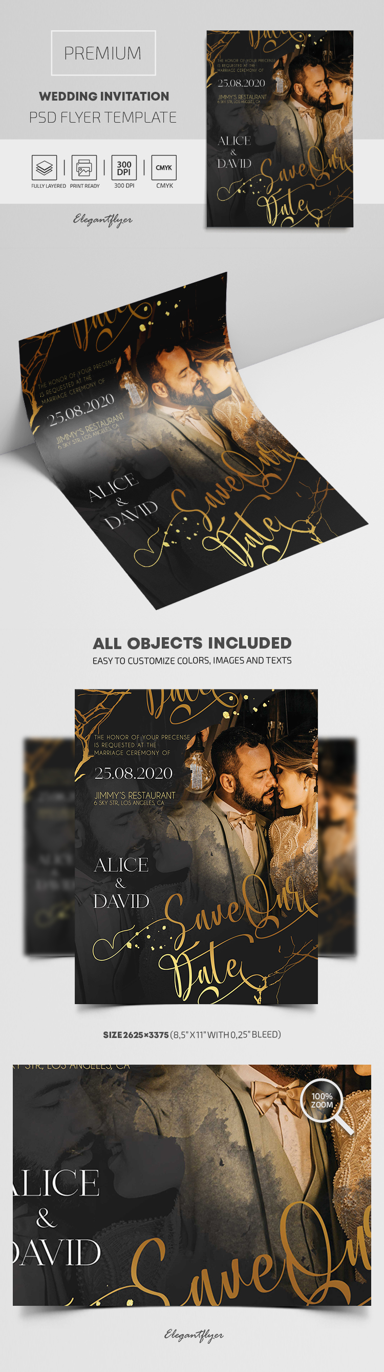 Premium Wedding Invitation PSD Template