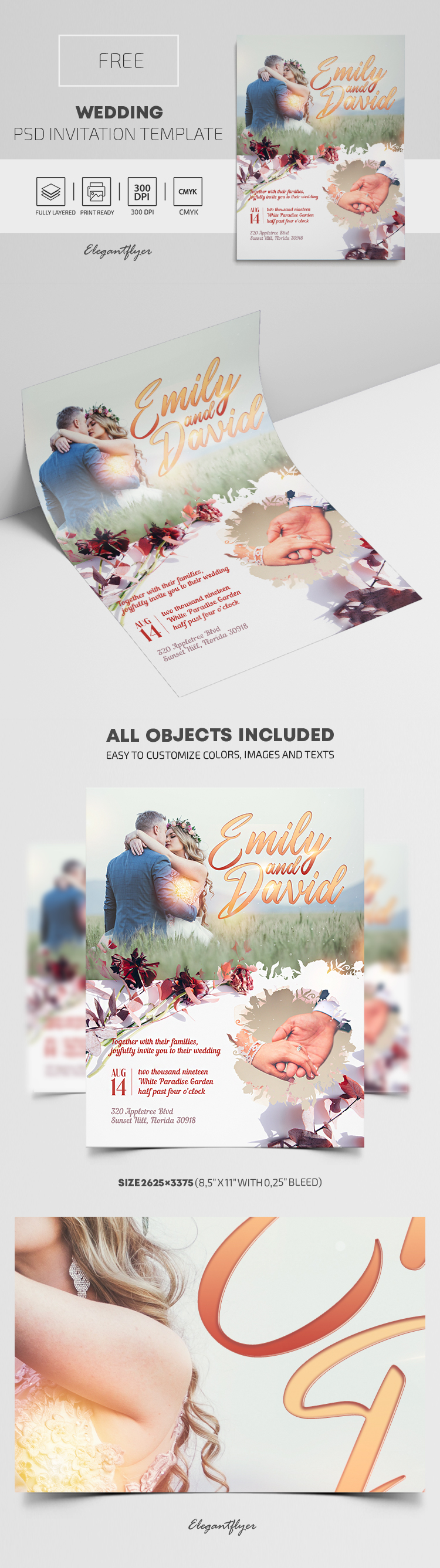 Free Wedding Invitation Template in PSD