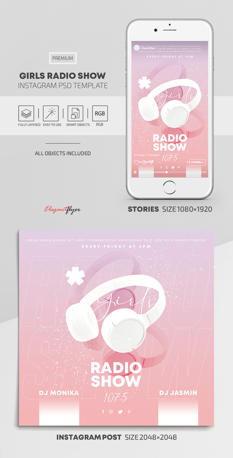 Girls Radio Show – Instagram Stories Template in PSD + Post Templates