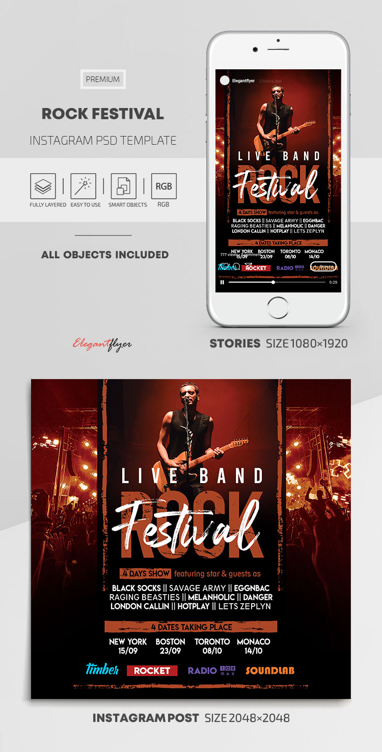 Rock Festival – Instagram Stories Template in PSD + Post Templates