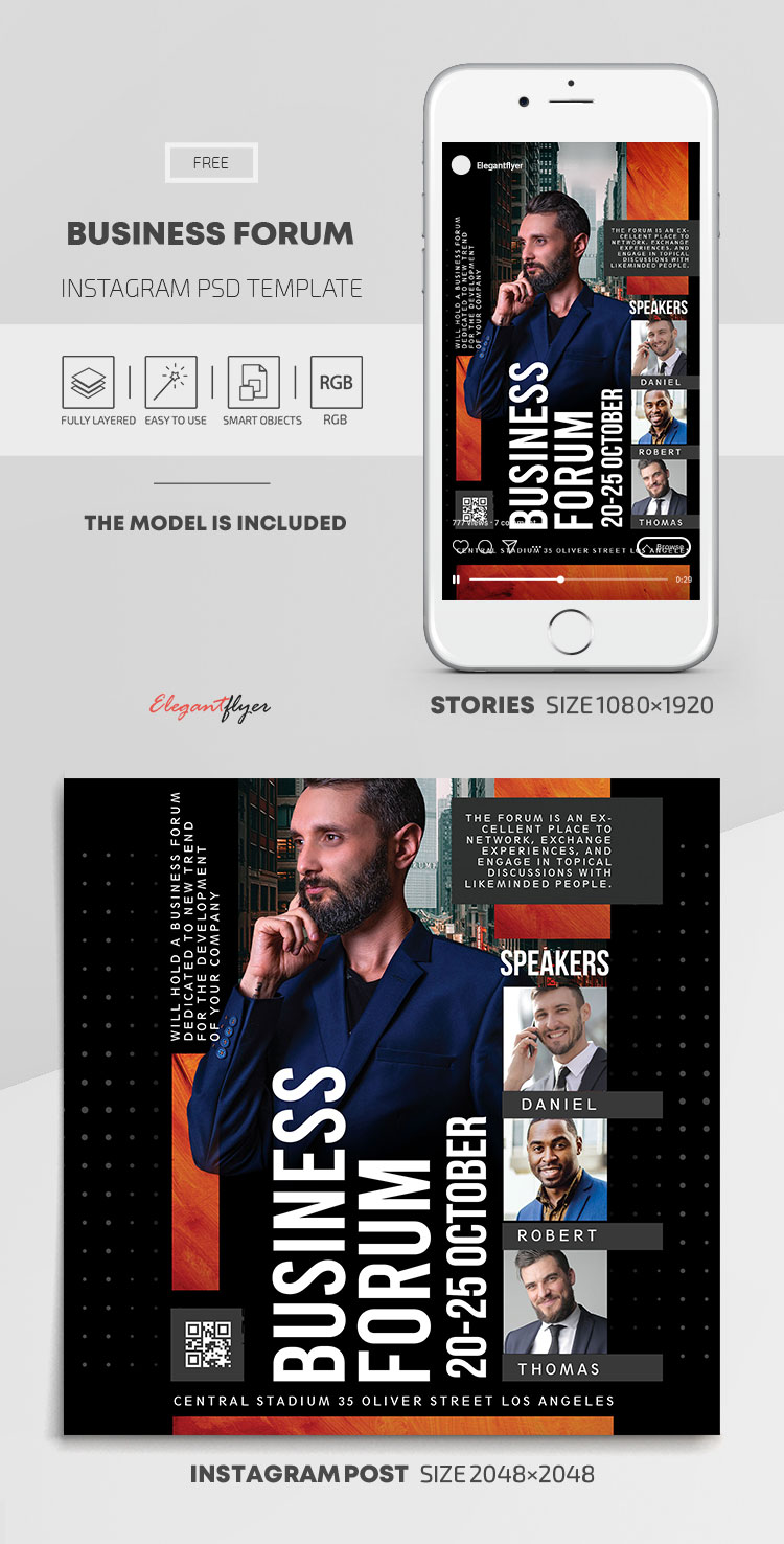 Business Forum – Free Instagram Stories Template in PSD + Post Templates