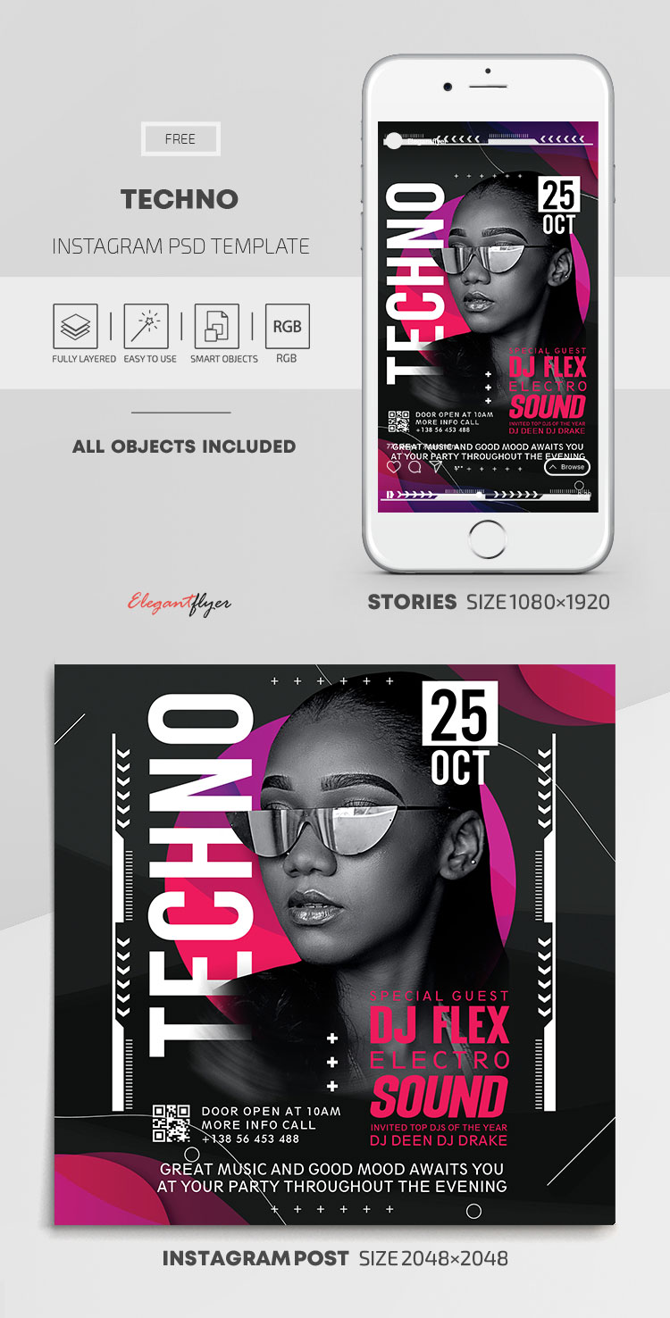 Techno – Free Instagram Stories Template in PSD + Post Templates