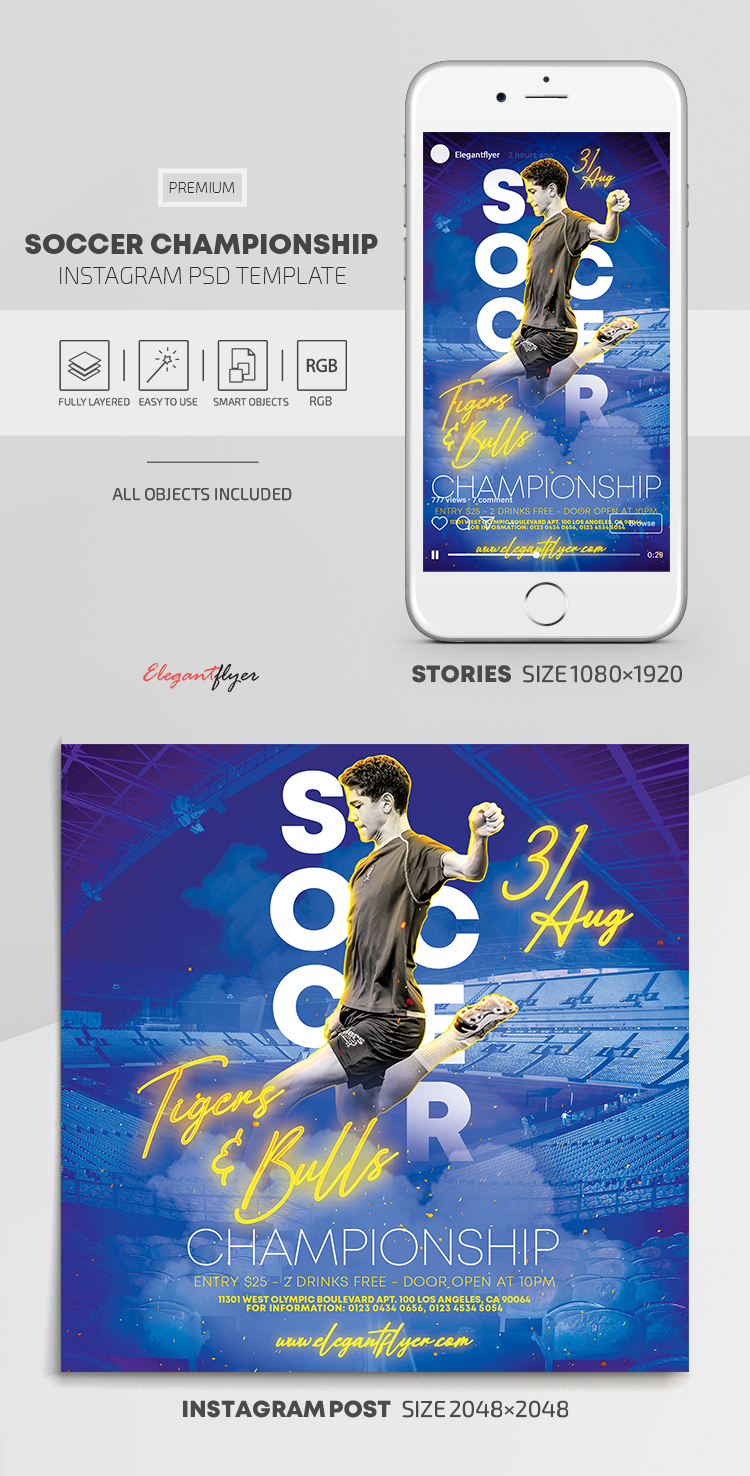 Soccer Championship – Instagram Stories Template in PSD + Post Templates