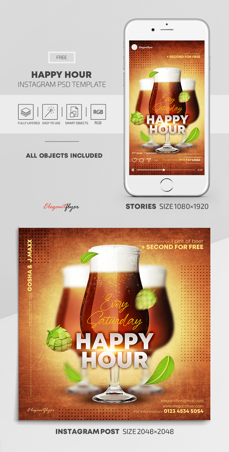 Happy Hour – Free Instagram Stories Template in PSD + Post Templates
