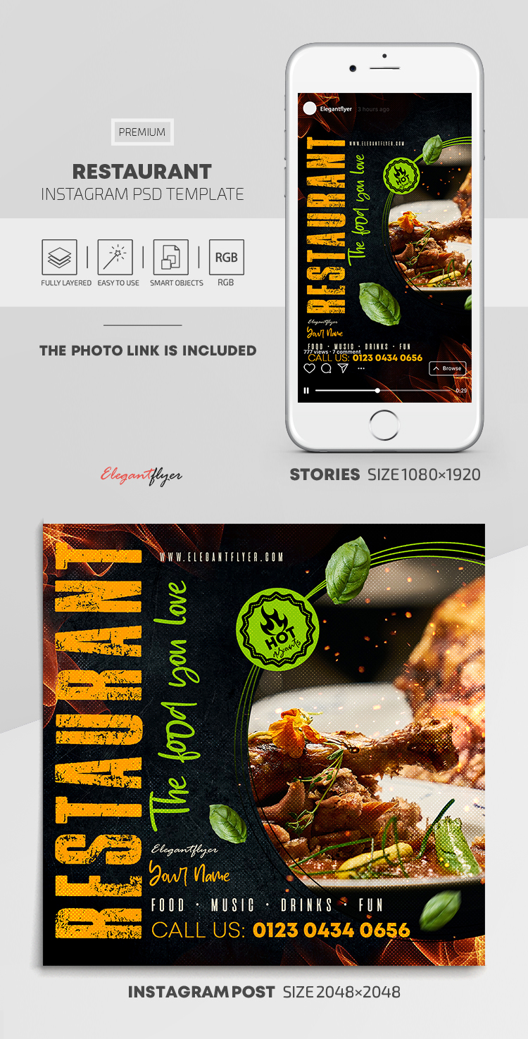 Restaurant – Instagram Stories Template in PSD + Post Templates