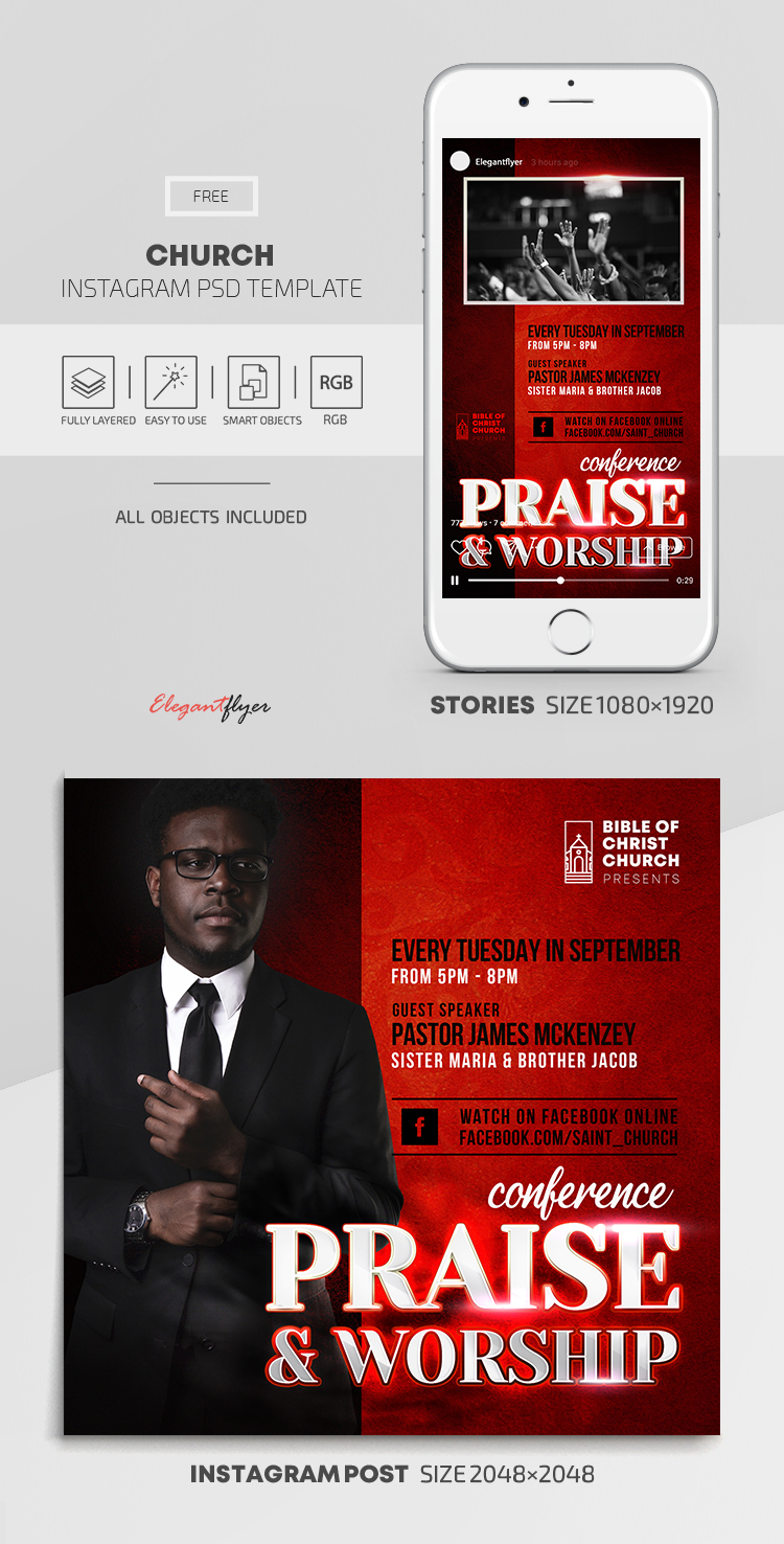 Church – Free Instagram Stories Template in PSD + Post Templates