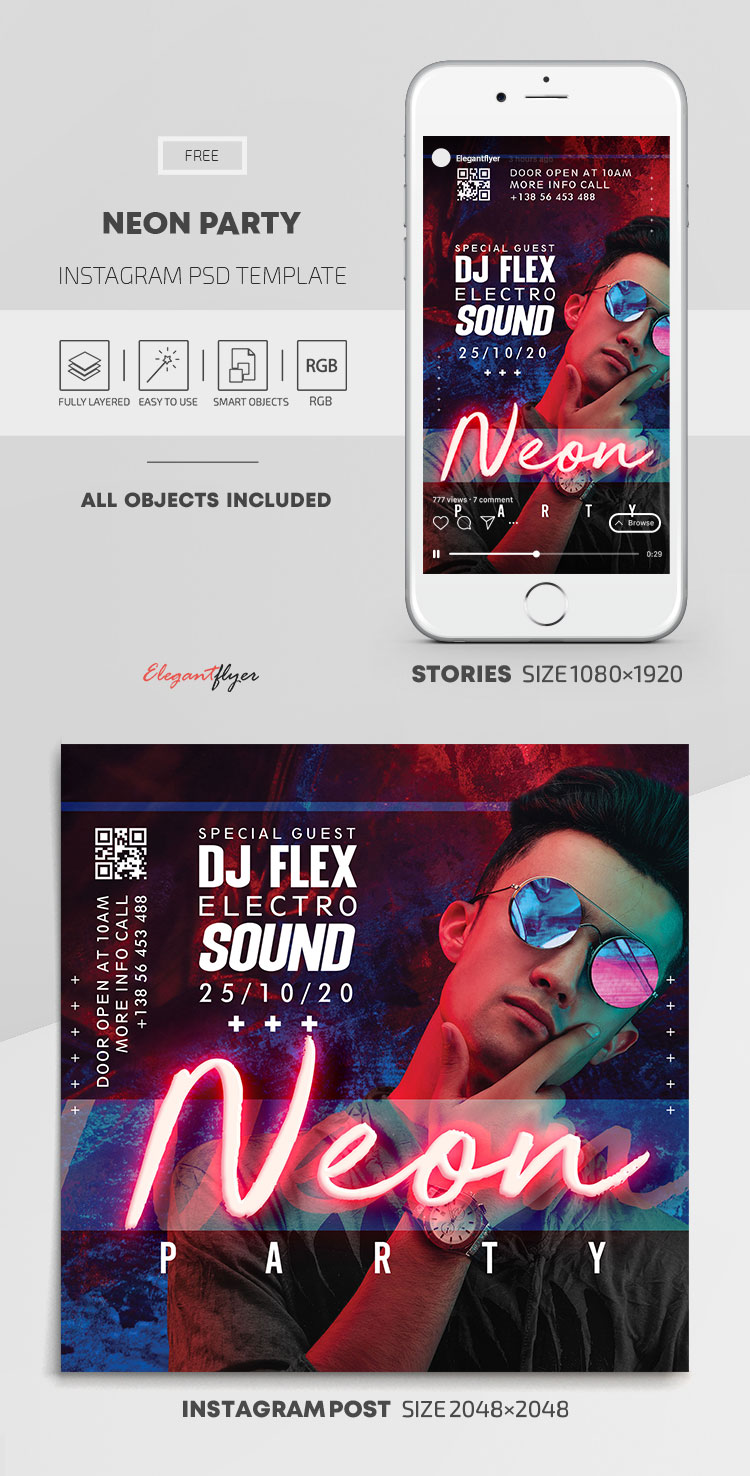 Neon Party – Free Instagram Stories Template in PSD + Post Templates