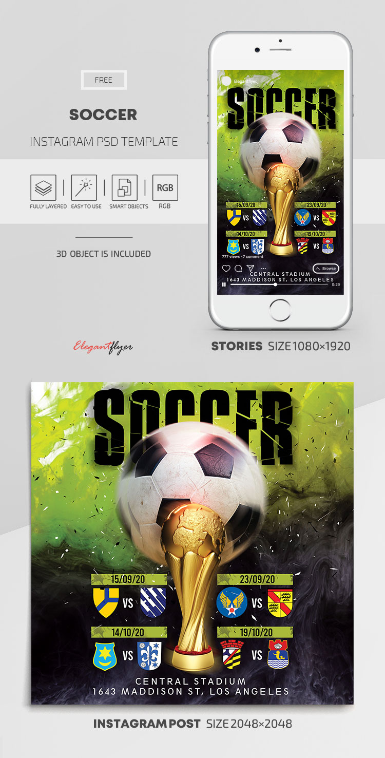 Soccer – Free Instagram Stories Template in PSD + Post Templates