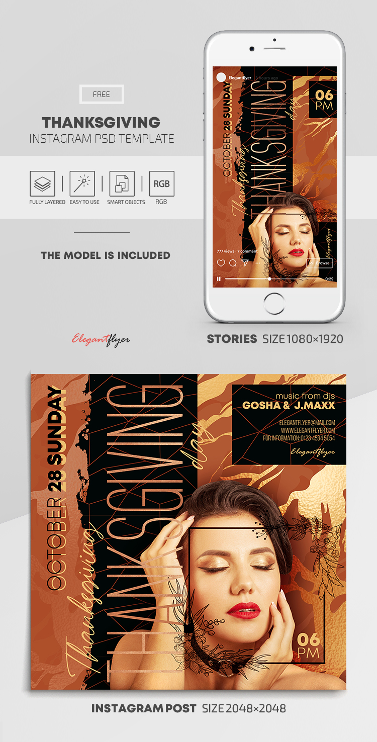 Thanksgiving – Free Instagram Stories Template in PSD + Post Templates