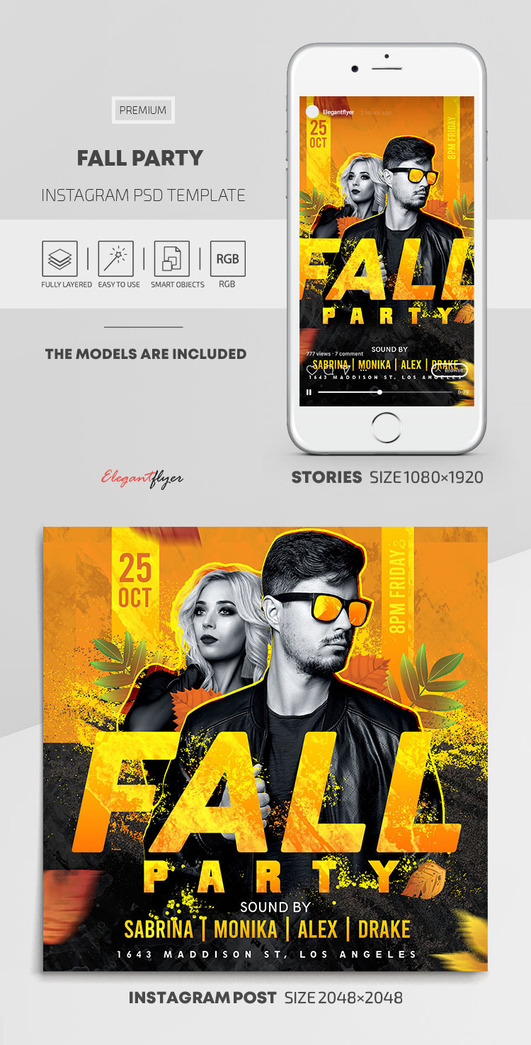 Fall Party – Instagram Stories Template in PSD + Post Templates