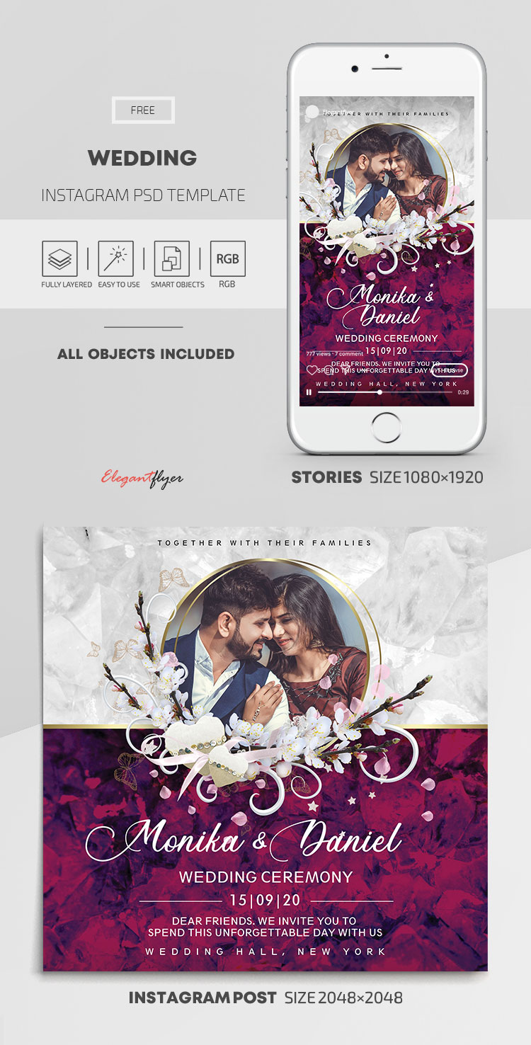 Wedding – Free Instagram Stories Template in PSD + Post Templates