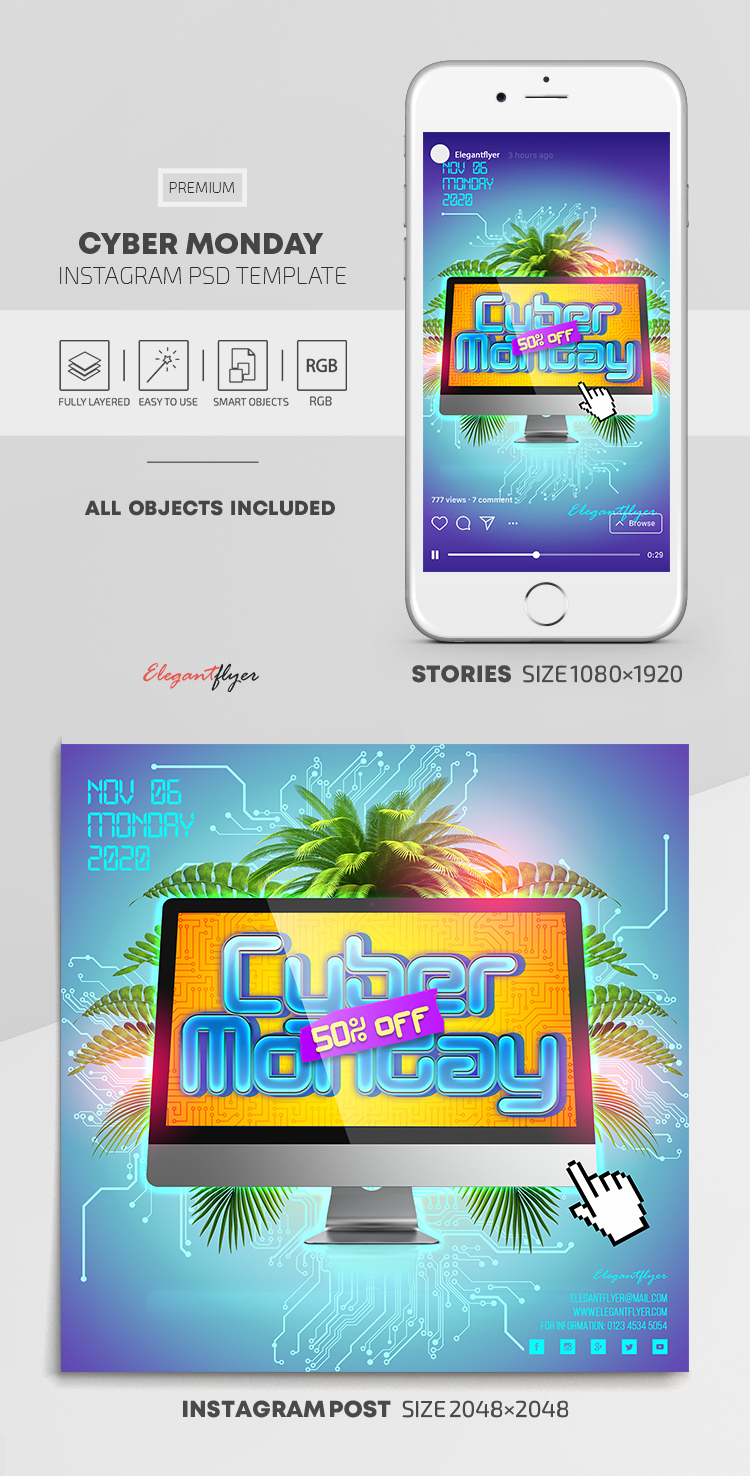 Cyber Monday – Instagram Stories Template in PSD + Post Templates