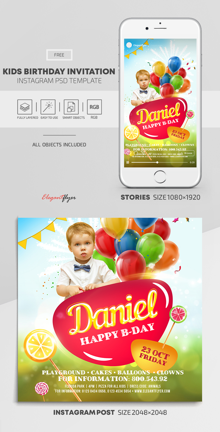 Kids Birthday Invitation – Free Instagram Stories Template in PSD + Post Templates