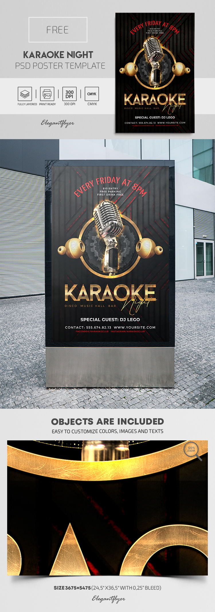 Karaoke Night – Free PSD Poster Template