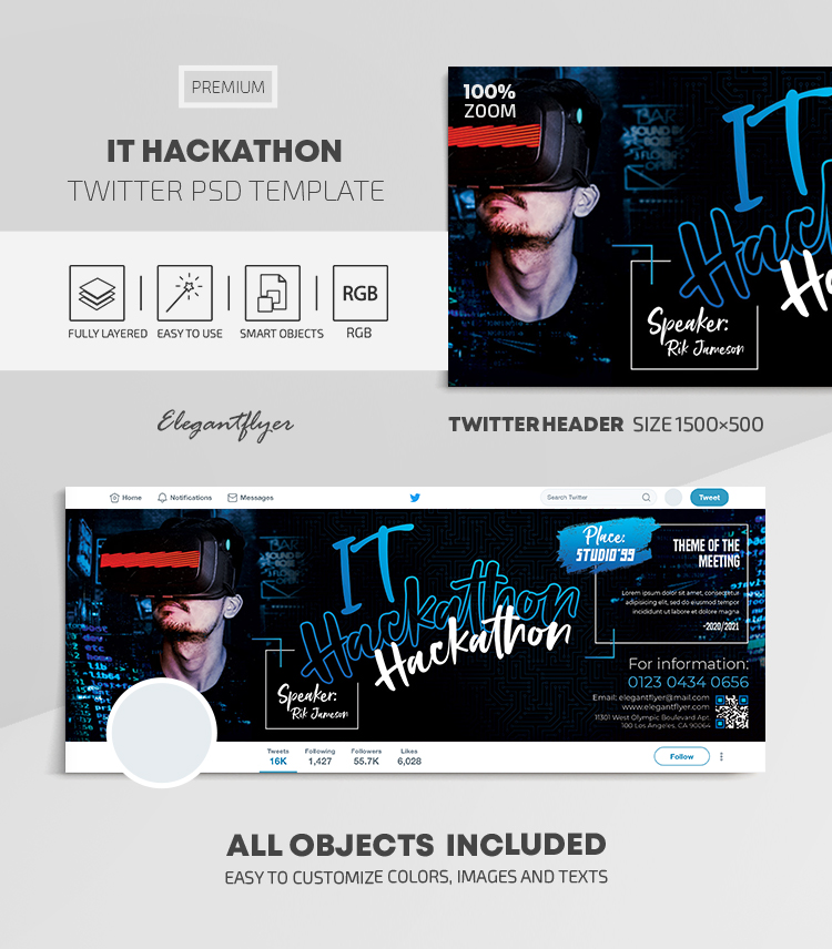IT Hackathon – Twitter Header PSD Template